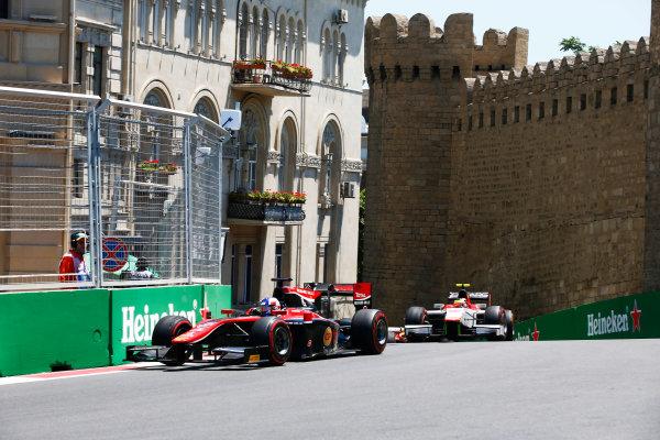 Baku City Circuit, Baku, Azerbaijan. Saturday 24 June 2017. Alexander Albon (THA, ART Grand Prix) and Robert Visoiu (ROU, Campos Racing)  World Copyright: Hone/LAT Images ref: Digital Image _ONY9628