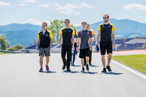 2017 GP3 Series Round 2.  Red Bull Ring, Spielberg, Austria. Thursday 6 July 2017. Bruno Baptista (BRA, DAMS) and Santino Ferrucci (USA, DAMS) walk the track. Photo: Zak Mauger/GP3 Series Media Service. ref: Digital Image _54I5385