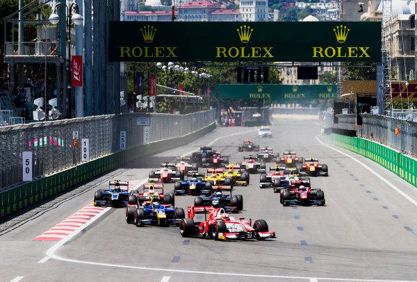 2017 FIA Formula 2 Round 4. Baku City Circuit, Baku, Azerbaijan. Saturday 24 June 2017. Charles Leclerc (MCO, PREMA Racing) leads Nicholas Latifi (CAN, DAMS) and the rest of the field at the start of the race. Photo: Zak Mauger/FIA Formula 2. ref: Digital Image _56I7414