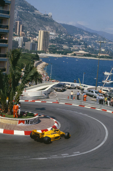 1987 Monaco Grand Prix. Monte Carlo, Monaco. 28th - 31st May 1987.  Ayrton Senna (Lotus 99T Honda),1st position, action. World Copyright: LAT Photographic. Ref: 87MONg