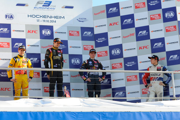 2014 FIA European F3 Championship Round 11 - Hockenheim, Germany 17th - 19th October 2014 Podium Championship and Rookie Championship, 2nd place Tom Blomqvist (GBR) JAGONYA AYAM with CARLIN Dallara F312 Volkswagen, 1st place 2 times Esteban Ocon (FRA) Prema Powerteam Dallara F312 Mercedes, 3rd place and 2nd place (Rookie) Max Verstappen (NED) VAN AMERSFOORT RACING Dallara F312 Volkswagen, 3rd place (Rookie) Jake Dennis (GBR) CARLIN Dallara F312 Volkswagen World Copyright: XPB Images / LAT Photographic  ref: Digital Image 3353837_HiRes