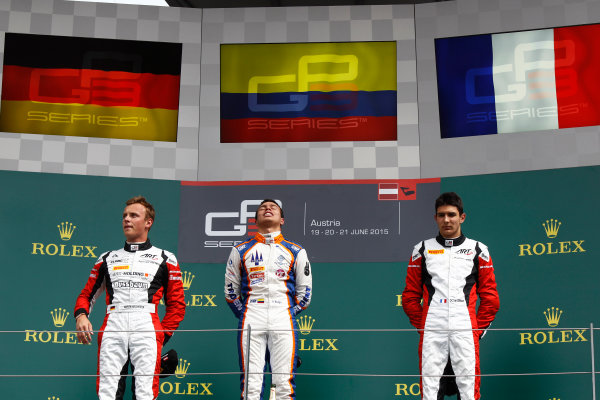 2015 GP3 Series Round 2. Red Bull Ring, Spielberg, Austria. Sunday 21 June 2015. Oscar Tunjo (COL, Trident),Marvin Kirchhofer (GER, ART Grand Prix) & Esteban Ocon (FRA, ART Grand Prix)  Photo:  Sam Bloxham/GP3 Media Service ref: Digital Image _G7C5885