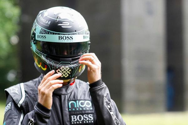 Formula 1 World Champion, Nico Rosberg with  the Gen2 Formula E car.