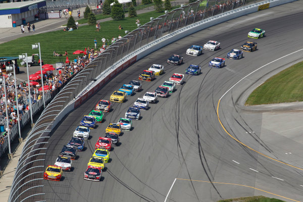 18 August, 2013, Brooklyn, Michigan USA Winner #22 Joey Logano, #29 Kevin Harvick, #16 Greg Biffle, #20 Matt Kenseth during a restart late in the race.  ©2013, Todd Davis LAT Photo USA