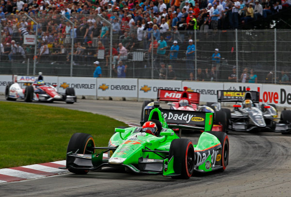 1-3 June, 2012, Detroit, Michigan, USAJames Hinchcliffe leads Graham Rahal, Oriol Servia and Mike Conway.(c)2012, Phillip G. AbbottLAT Photo USA
