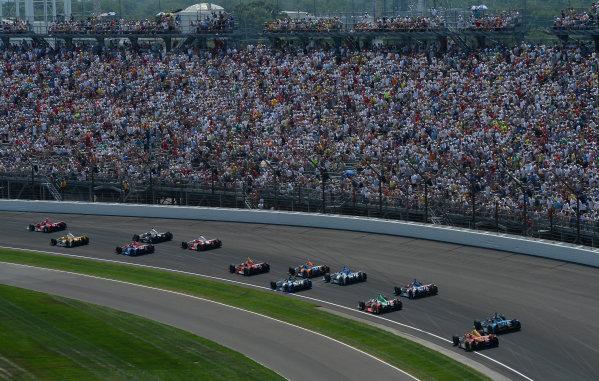 27 May, 2012, Indianapolis, IndianaScott Dixon, #9 Target Chip Ganassi Racing Honda heads pack of cars through turn one(c)2012 Dan R. Boyd LAT Photo USA