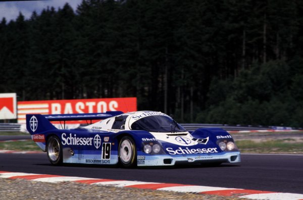 Spa-Francorchamps, Belgium. 1st September 1985. Rd 7.Stefan Bellof/Thierry Boutsen (Porsche 956), retired due to a fatal accident to Stefan Bellof, action. World Copyright: LAT Photographic.Ref:  85SPA01