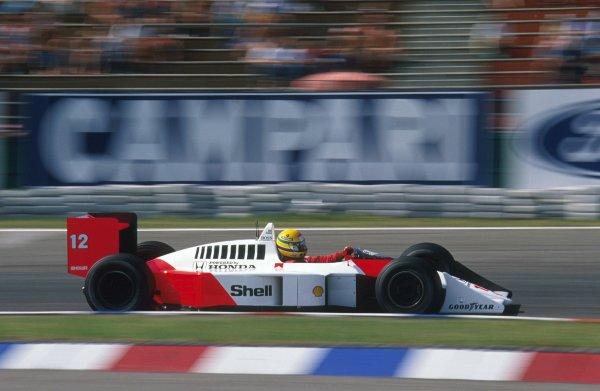 1988 German Grand Prix. Hockenheim, Germany. 22-24 July 1988. Ayrton Senna (McLaren MP4/4 Honda) 1st position. Ref: 88GER14. World Copyright - LAT Photographic