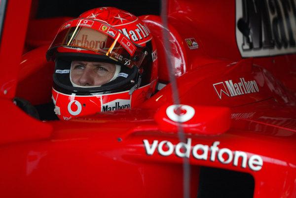 2004 Monaco Grand Prix - Thursday Practice,Monaco. 20th May 2004 Michael Schumacher, Ferrari F2004, in the cockpit of his car.World Copyright: Steve Etherington/LAT Photographic ref: Digital Image Only