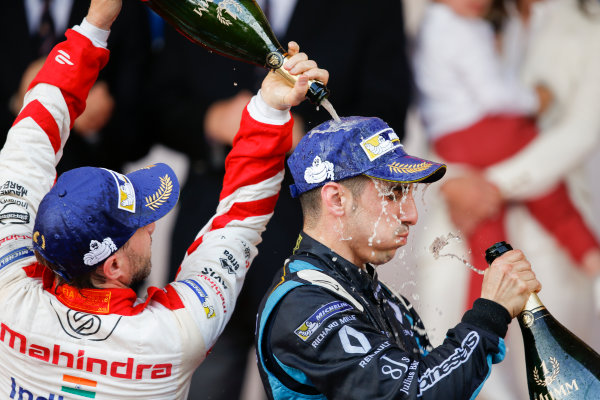 2016/2017 FIA Formula E Championship. Monte-Carlo, Monaco Saturday 13 May 2017. Sebastien Buemi (SUI), Renault e.Dams, Spark-Renault, Renault Z.E 16, sprays the champagne on the podium with Nick Heidfeld (GER), Mahindra Racing, Spark-Mahindra, Mahindra M3ELECTRO. Photo: Alastair Staley/LAT/Formula E ref: Digital Image _X0W1417
