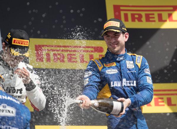 2017 FIA Formula 2 Round 2. Circuit de Catalunya, Barcelona, Spain. Sunday 14 May 2017. Third placed Nicholas Latifi (CAN, DAMS)  Photo: Jed Leicester/FIA Formula 2. ref: Digital Image JL2_1660