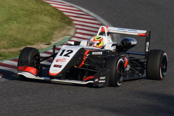 2017 Japanese Formula 3 Championship. Suzuka, Japan. 22nd - 23rd April 2017. Rd 4 & 5. Round 5 2nd position Alex Palou ( #12 ThreeBond Racing with DRAGO CORSE ) action  World Copyright: Yasushi Ishihara / LAT Images. Ref: 2017JF3_Rd5_005