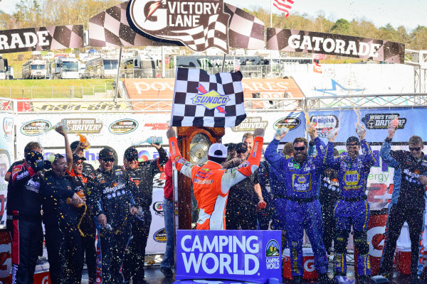 NASCAR Camping World Truck Series Alpha Energy Solutions 250 Martinsville Speedway, Martinsville, VA USA Saturday 1 April 2017 Chase Elliott celebrates in victory lane, Sunoco World Copyright: Logan Whitton/LAT Images ref: Digital Image 17MART1LW1838