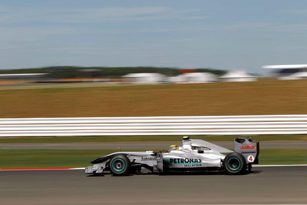 Silverstone, Northamptonshire, England9th July 2010Nico Rosberg, Mercedes GP W01. Action. World Copyright: Andrew Ferraro/LAT Photographicref: Digital Image _Q0C6990