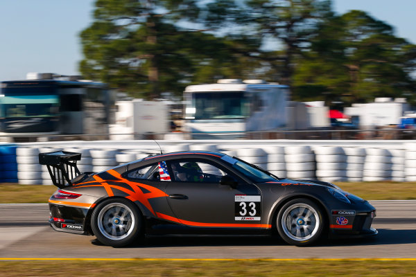 2017 Porsche GT3 Cup USA Sebring International Raceway, Sebring, FL USA Wednesday 15 March 2017 33, CJ Wilson, GT3P, USA, 2017 Porsche 991 World Copyright: Jake Galstad/LAT Images ref: Digital Image lat-galstad-SIR-0317-14881