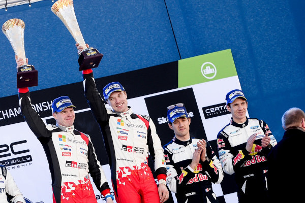 Rally winners Jari-Matti Latvala (FIN) / Miikka Anttila (FIN), Toyota Gazoo Racing WRC and third placed Sebastien Ogier (FRA) / Julien Ingrassia (FRA), M-Sport World Rally Team WRC celebrate on the podium with the champagne at World Rally Championship, Rd2, Rally Sweden, Day Three, Karlstad, Sweden, 12 February 2017.
