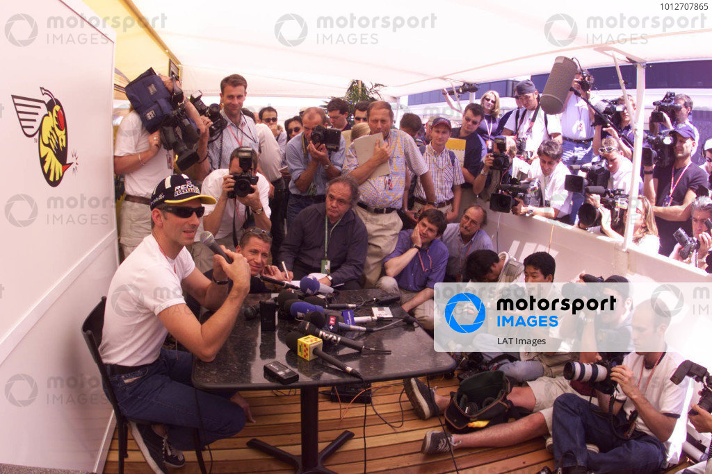 1999 French Grand Prix.Magny-Cours, France.25-27 June 1999. Damon Hill (Jordan Mugen Honda) tells the World's press about his retirement decision.World Copyright - LAT Photographic