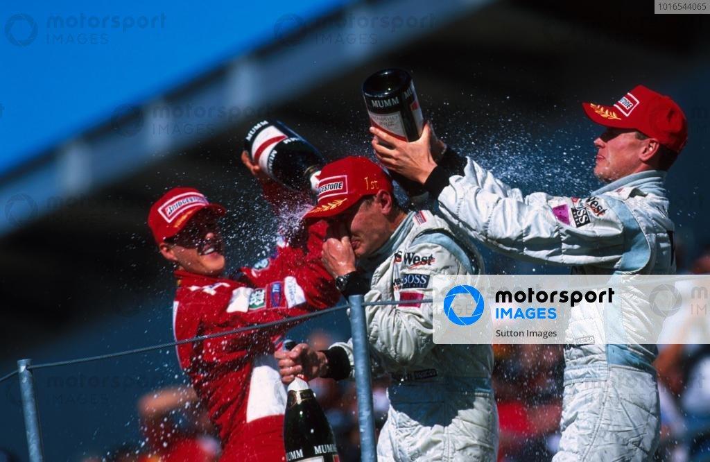 L-R: Michael Schumacher(GER), Mika Hakkinen(FIN), David Coulthard(GBR) USA Grand Prix, Indianapolis 30 September 2001 BEST IMAGE
