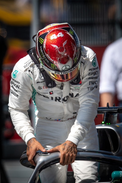 Lewis Hamilton, Mercedes AMG F1, parks up after Qualifying