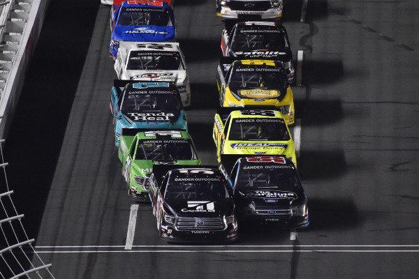 #51: Kyle Busch, Kyle Busch Motorsports, Toyota Tundra Cessna  and #99: Ben Rhodes, ThorSport Racing, Ford F-150 Carolina Nut