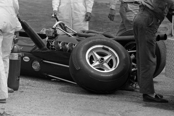 The failed suspension on Jim Clark's Lotus 34 Ford. The tyre has a severe blister on it.