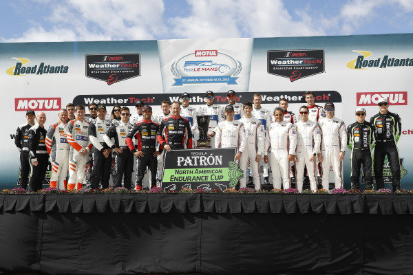 Tequila Patron North American Endurance Cup contenders: #33 Riley Motorsports Mercedes AMG GT3, GTD: Jeroen Bleekemolen, Ben Keating, Luca Stolz, #54 CORE autosport ORECA LMP2, P: Jon Bennett, Colin Braun, Romain Dumas, #86 Michael Shank Racing with Curb-Agajanian Acura NSX, GTD: Katherine Legge, Alvaro Parente, Trent Hindman, #5 Action Express Racing Cadillac DPi, P: Joao Barbosa, Filipe Albuquerque, Christian Fittipaldi, #31 Action Express Racing Cadillac DPi, P: Eric Curran, Felipe Nasr, Gabby Chaves, #66 Chip Ganassi Racing Ford GT, GTLM: Dirk M?ller, Joey Hand, Sebastien Bourdais, #67 Chip Ganassi Racing Ford GT, GTLM: Ryan Briscoe, Richard Westbrook, Scott Dixon, #6 Acura Team Penske Acura DPi, P: Dane Cameron, Juan Pablo Montoya, Simon Pagenaud, #7 Acura Team Penske Acura DPi, P: Helio Castroneves, Ricky Taylor, Graham Rahal, #48 Paul Miller Racing Lamborghini Huracan GT3, GTD: Madison Snow, Bryan Sellers, Corey Lewis, #22 Tequila Patron ESM Nissan DPi, P: Pipo Derani, Johannes van Overbeek, Timo Bernhard