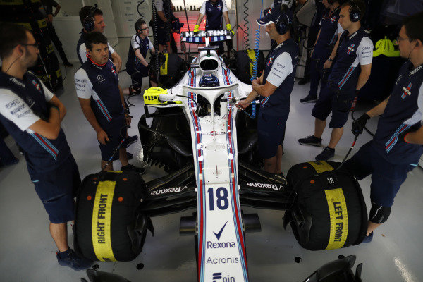 Lance Stroll, Williams Racing, in the team's garage.