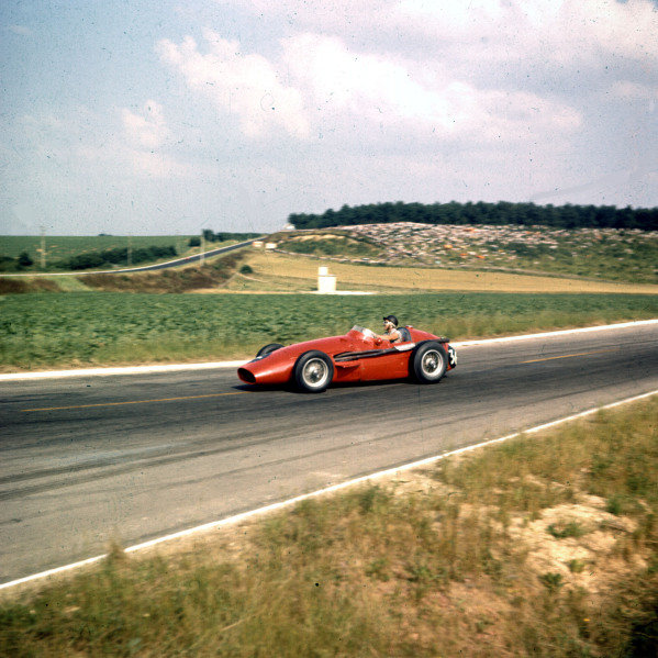1958 French Grand Prix.Reims, France.4-6 July 1958.Phil Hill (Maserati 250F) 7th position.Ref-3/0065.World Copyright - LAT Photographic