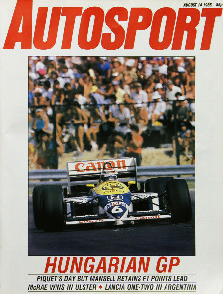 Cover of Autosport magazine, 14th August 1986