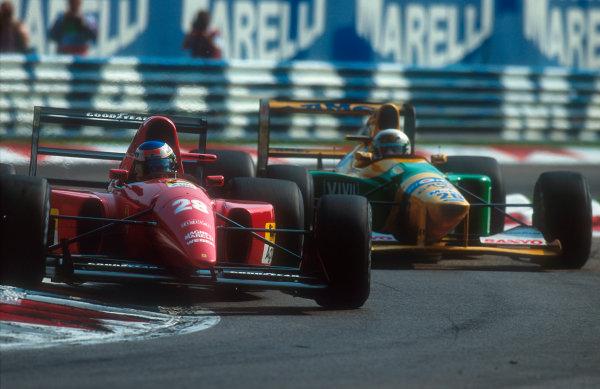 1992 Italian Grand Prix.Monza, Italy.11-13 September 1992.Ivan Capelli (Ferrari F92AT) followed by Martin Brundle (Benetton B192 Ford).Ref-92 ITA 03.World Copyright - LAT Photographic