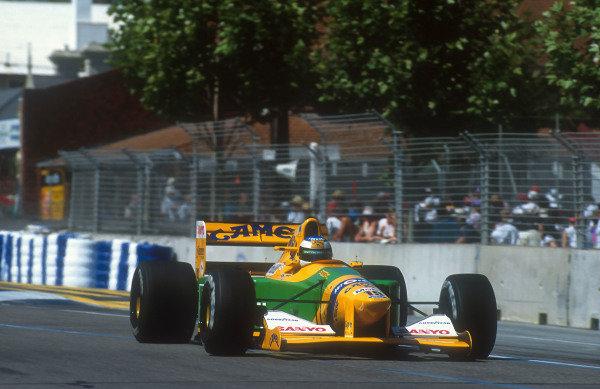 1992 Australian Grand Prix.Adelaide, Australia.6-8 November 1992.Michael Schumacher (Benetton B192 Ford) 2nd position.Ref-92 AUS 11.World Copyright - LAT Photographic