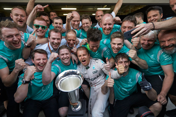 Shanghai International Circuit, Shanghai, China. Sunday 17 April 2016. Nico Rosberg, Mercedes AMG, 1st Position, and the Mercedes team celebrate victory after the race. World Copyright: Steve Etherington/LAT Photographic ref: Digital Image SNE22053