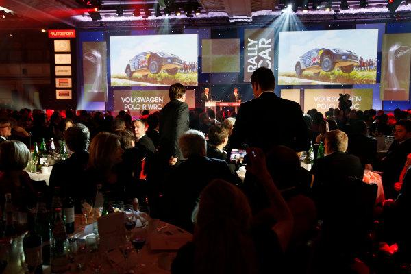 2015 Autosport Awards. Grosvenor House Hotel, Park Lane, London. Sunday 6 December 2015. Rally Car of the Year, Volkswagen Polo R WRC, Jost Capito and Francois-Xavier Demaison. World Copyright: Adam Warner/LAT Photographic. ref: Digital Image _L5R9401