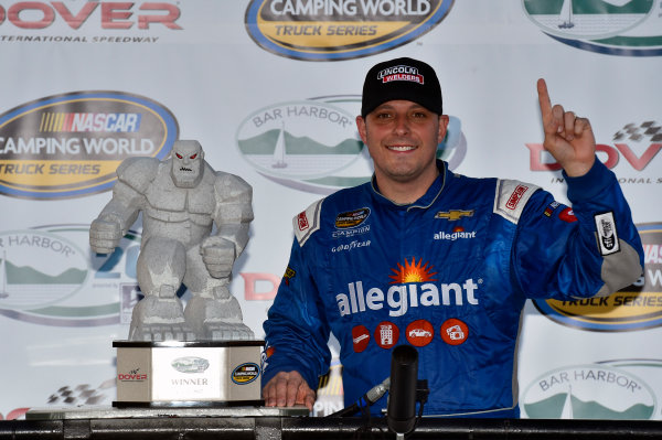 NASCAR Camping World Truck Series Bar Harbor 200 Dover International Speedway, Dover, DE USA Friday 2 June 2017 Johnny Sauter, Allegiant Airlines Chevrolet Silverado celebrates his win in Victory Lane World Copyright: Nigel Kinrade LAT Images ref: Digital Image 17DOV1nk06899
