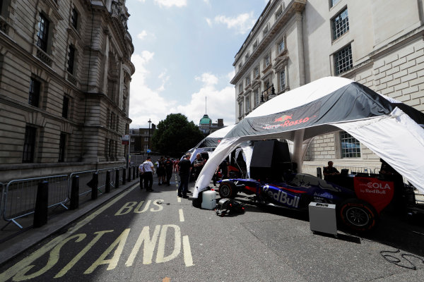 London, United Kingdom.  Wednesday 12 July 2017. The Toro Rosso STR12 Renault ready for a demo run. World Copyright: Zak Mauger/LAT Images  ref: Digital Image _56I5771