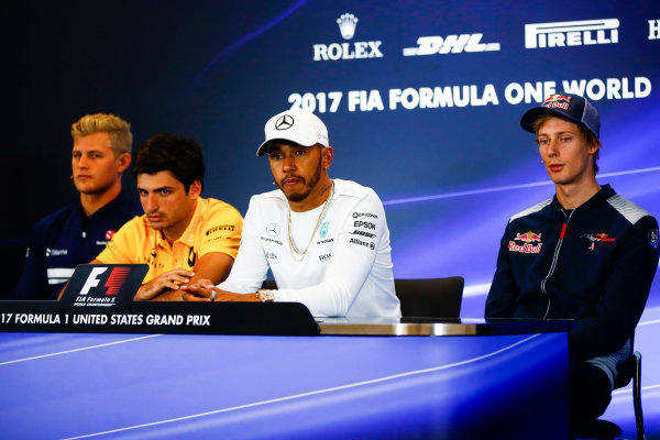 Circuit of the Americas, Austin, Texas, United States of America. Thursday 19 October 2017. Marcus Ericsson, Sauber C36 Ferrari, Carlos Sainz Jr, Renault Sport F1, Lewis Hamilton, Mercedes AMG, and Brendon Hartley, Toro Rosso, in the press conference. World Copyright: Andy Hone/LAT Images  ref: Digital Image _ONY9138