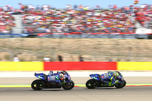 2017 MotoGP Championship - Round 14 Aragon, Spain. Saturday 1 January 2000 Valentino Rossi, Yamaha Factory Racing, Maverick Viñales, Yamaha Factory Racing World Copyright: Gold and Goose / LAT Images ref: Digital Image 14172