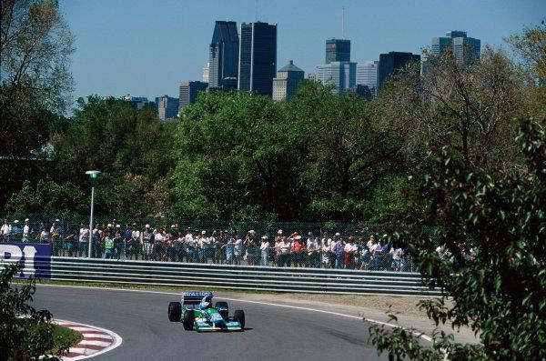Montreal, Quebec, Canada. .9-11 June 1995. Michael Schumacher (Benetton B195 Renault) 5th position, action.  World Copyright: LAT Photographic. Ref:  Colour Transparency