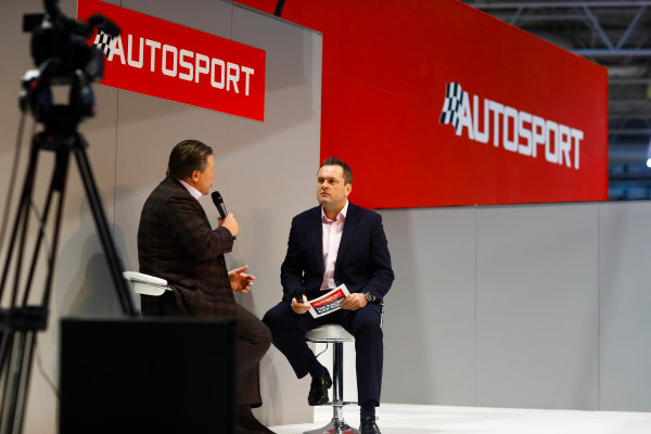 Autosport International Exhibition. National Exhibition Centre, Birmingham, UK. Thursday 11th January 2017. Zak Browb, is interviewed by Henry Hope-Frost, on the Autosport Stage.World Copyright: Ashleigh Hartwell/LAT Images Ref: _R3I6591