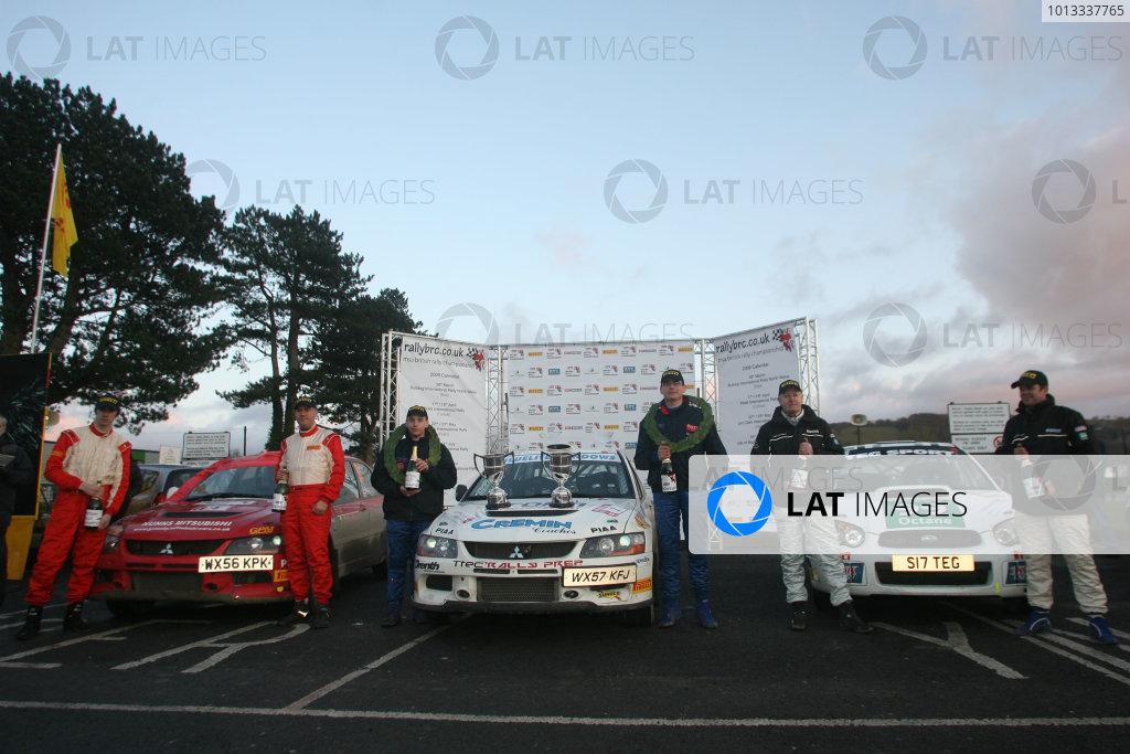Bulldog Rally, Wales 28th March,Podium, Stuart Jones/Andy Bull - Mitsubishi Lancer Evo 9, Keith Cronin/Greg Shinnors - Mitsubishi Lancer Evo 9 and Mark Higgins/Bryan Thomas - Subaru Impreza N11World Copyright: Ebrey/LAT Photographic