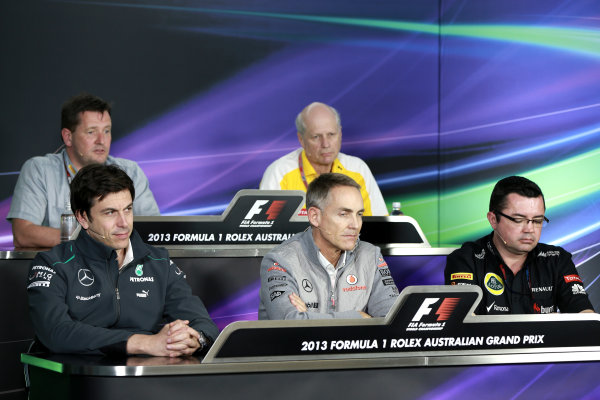 Albert Park, Melbourne, Australia Friday 15th March 2013 Paul Hembery, Director, McLaren, Jean-Michel Jalinier, President and Managing Director, Renault Sport F1, Toto Wolff, Executive Director, Mercedes AMG, Martin Whitmarsh, Team Principal, McLaren, and Eric Boullier, Team Principal, Lotus F1, in a Press Conference. World Copyright: Andy Hone/  ref: Digital Image HONZ1526