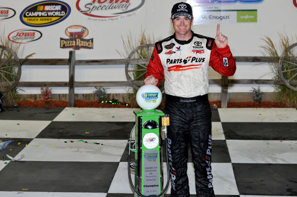 12-13 July, 2013, Newton, Iowa USA Timothy Peters in victory lane with trophy ©2013, Scott R LePage LAT Photo USA