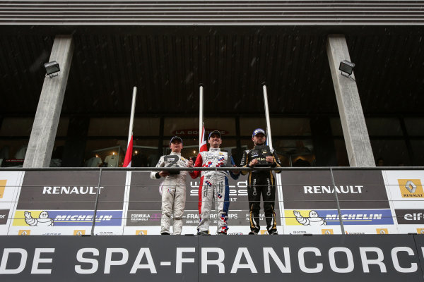 Francorchamps (BEL) May 29-31 2015 - World Series by Renault 2015 at Circuit Spa Francorchamps. Podium of race2: Oliver Rowland #4 Fortec, Nyck de Vries #1 Dams and Matthieu Vaxiviere #09 Lotus. Portrait. © 2015 Sebastiaan Rozendaal / Dutch Photo Agency / LAT Photographic