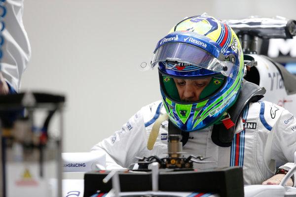Shanghai International Circuit, Shanghai, China. Thursday 9 April 2015. Felipe Massa, Williams F1, in the garage. World Copyright: Charles Coates/LAT Photographic. ref: Digital Image _N7T2193