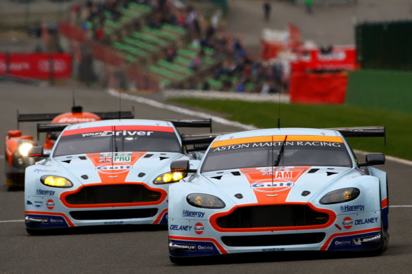 2015 FIA World Endurance Championship, Spa-Francorchamps, Belgium. 30th April - 2nd May 2015. Francesco Castellacci / Roald Goethe / Stuart Hall Aston Martin Racing Aston Martin Vantage V8. World Copyright: Ebrey / LAT Photographic.