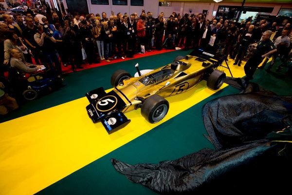 Autosport International Exhibition.  National Exhibition Centre, Birmingham, UK. Thursday 14 January 2016.  Classic Team Lotus unveil the Lotus Type 56 B. World Copyright: Sam Bloxham/LAT Photographic. ref: Digital Image _SBL6140