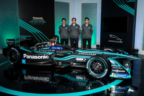 Panasonic Jaguar Racing RE:CHARGE LIVE EVENT Whitely Engineering Centre, Warwickshire, UK Thursday 21 September 2017. Mitch Evans, Nelson Piquet Jr, and Ho-Pin Tung Photo: Andrew Ferraro/LAT/Jaguar ref: Digital Image _FER7244
