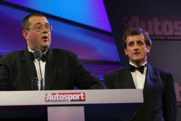 2004 Autosport AwardsGrosvenor House, London, England. 5th December.John McIlroy and Luis Moya.World Copyright: LAT Photographicref: Digital Image Only