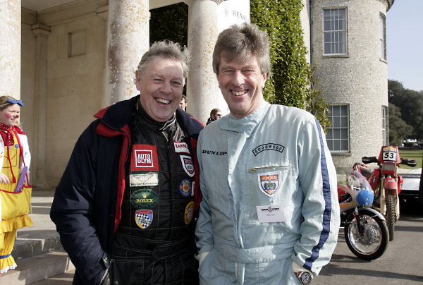 2005 Goodwood Festival of Speed Press DayGoodwood, England. 16th March 2005Competitors, Barrie 'Whizzo' Williams and Willie Green clown around.World Copyright: Gary Hawkins/LAT Photographicref: Digital Image Only