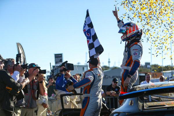 #46 Team TGM, Mercedes-AMG, GS: Hugh Plumb, Owen Trinkler, Race Winners, Celebrate with the Checker Flag